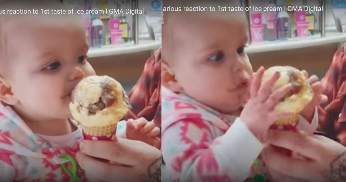 アイスを食べて驚く赤ちゃん